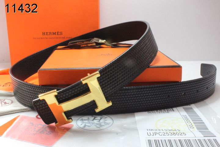 Fashionable Belt with Golden H Buckle Hermes Mens Black Sale